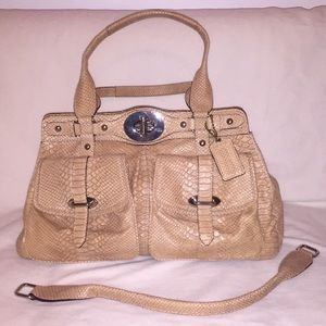 Coach leather snakeskin textured handbag